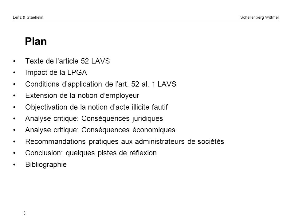 Plan Texte de l'article 52 LAVS Impact de la LPGA
