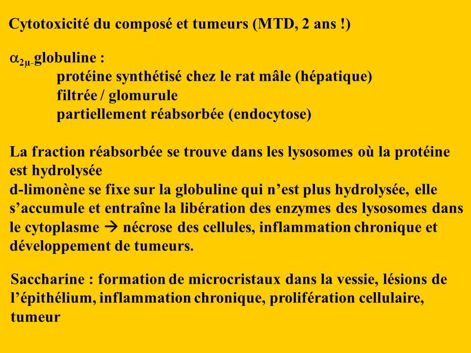 Cytotoxicité du composé et tumeurs (MTD, 2 ans !)