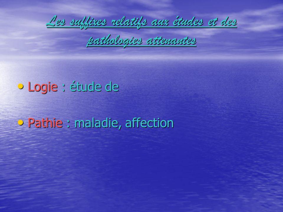Les suffixes relatifs aux études et des pathologies attenantes