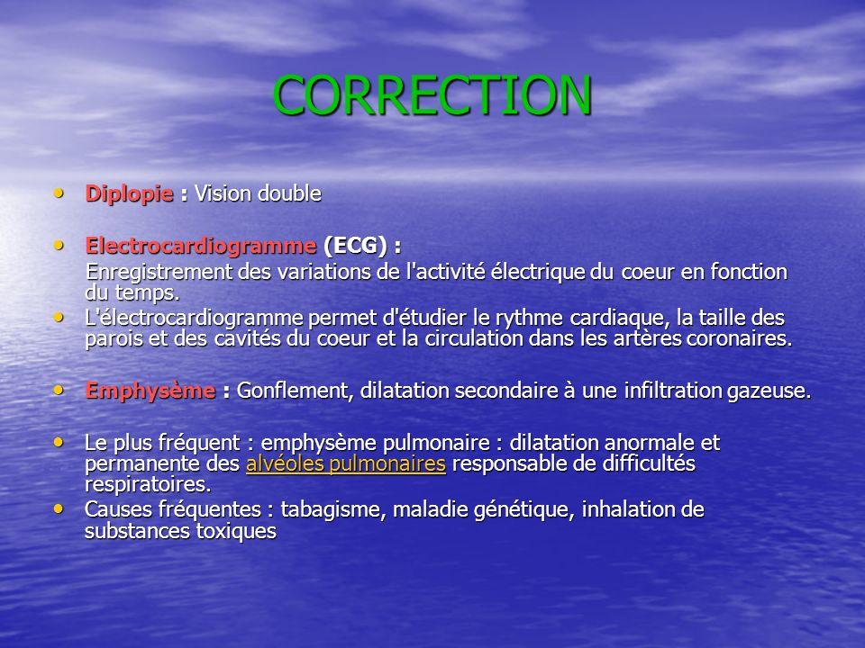 CORRECTION Diplopie : Vision double Electrocardiogramme (ECG) :