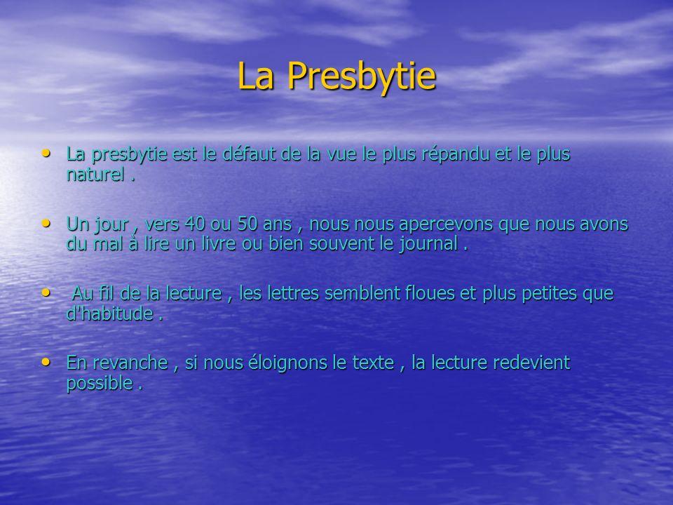 La Presbytie La presbytie est le défaut de la vue le plus répandu et le plus naturel .