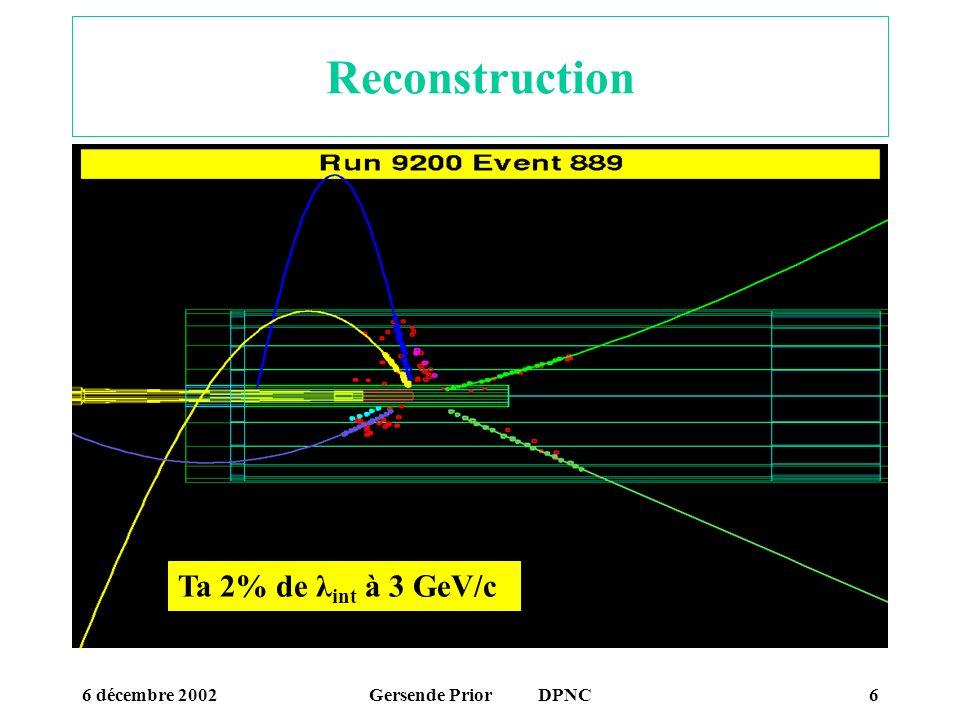 Reconstruction Ta 2% de λint à 3 GeV/c 6 décembre 2002