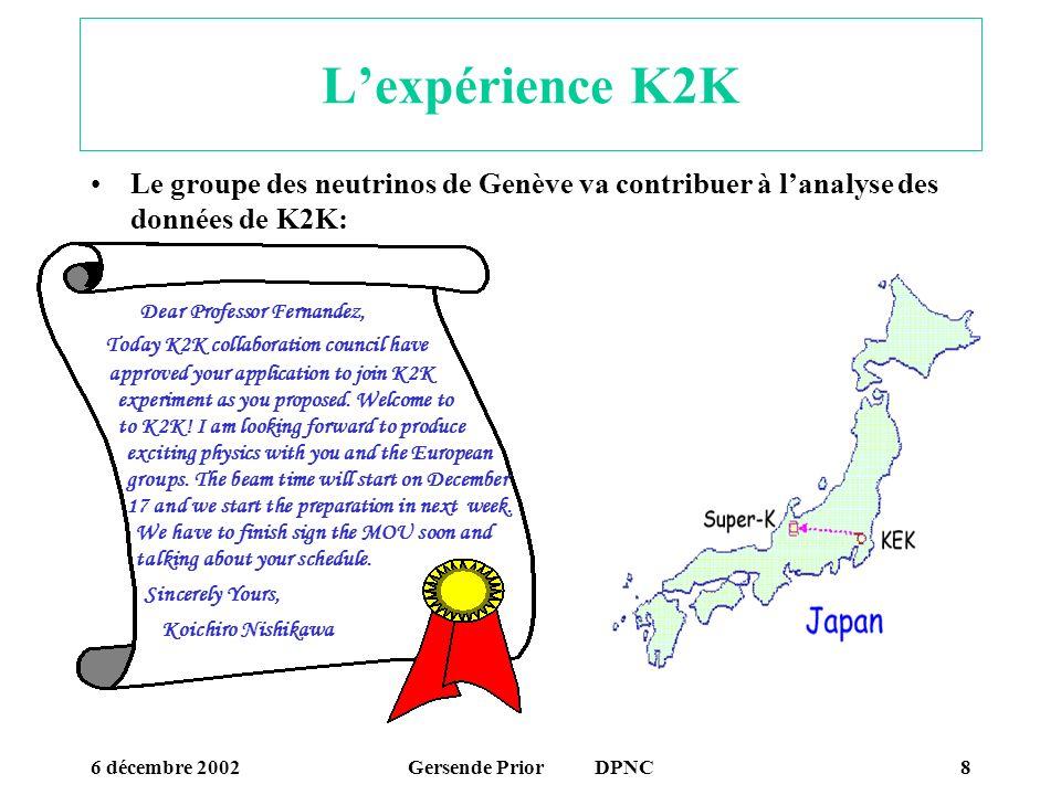 L'expérience K2K Le groupe des neutrinos de Genève va contribuer à l'analyse des données de K2K: Dear Professor Fernandez,