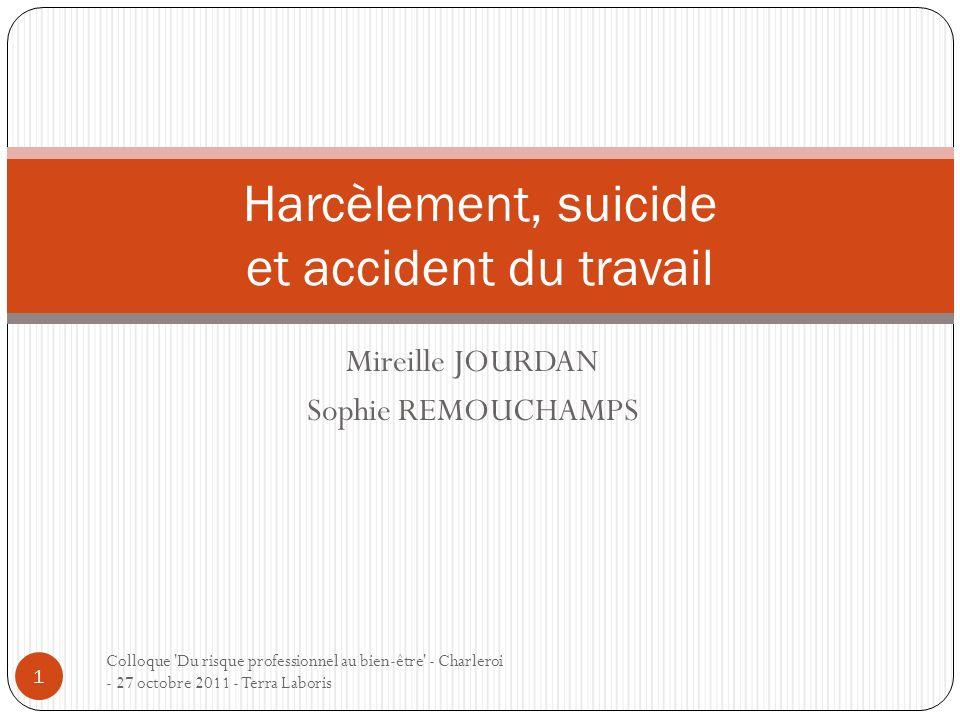 Harcèlement, suicide et accident du travail