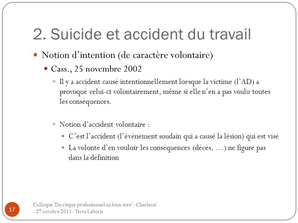 2. Suicide et accident du travail