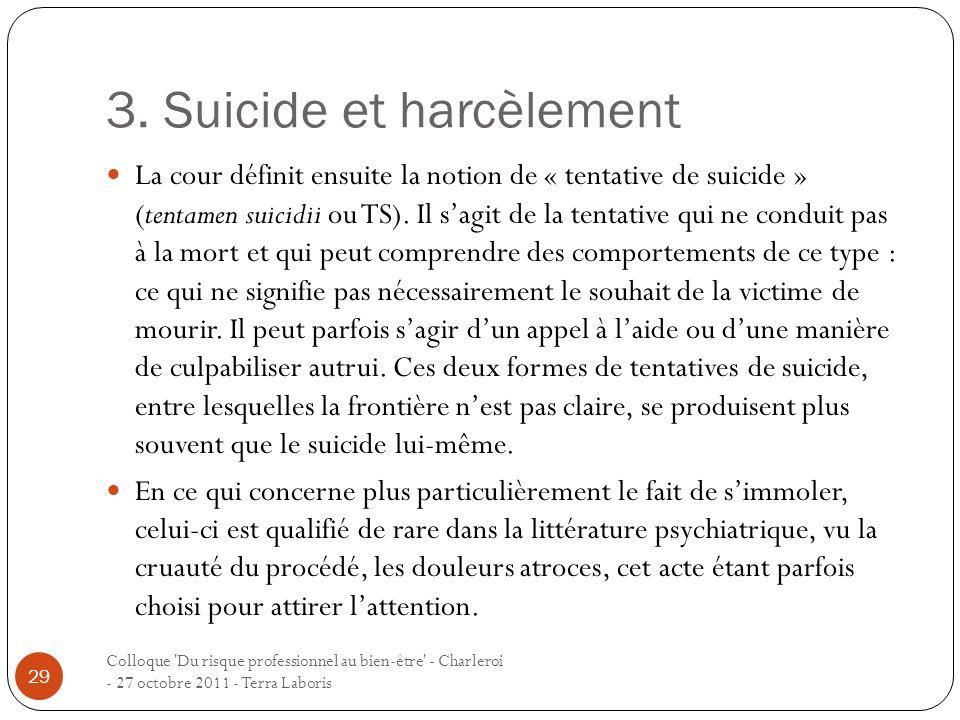 3. Suicide et harcèlement