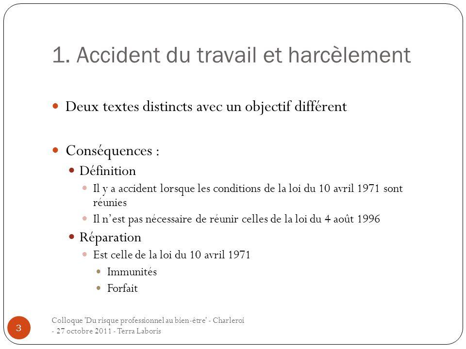 1. Accident du travail et harcèlement