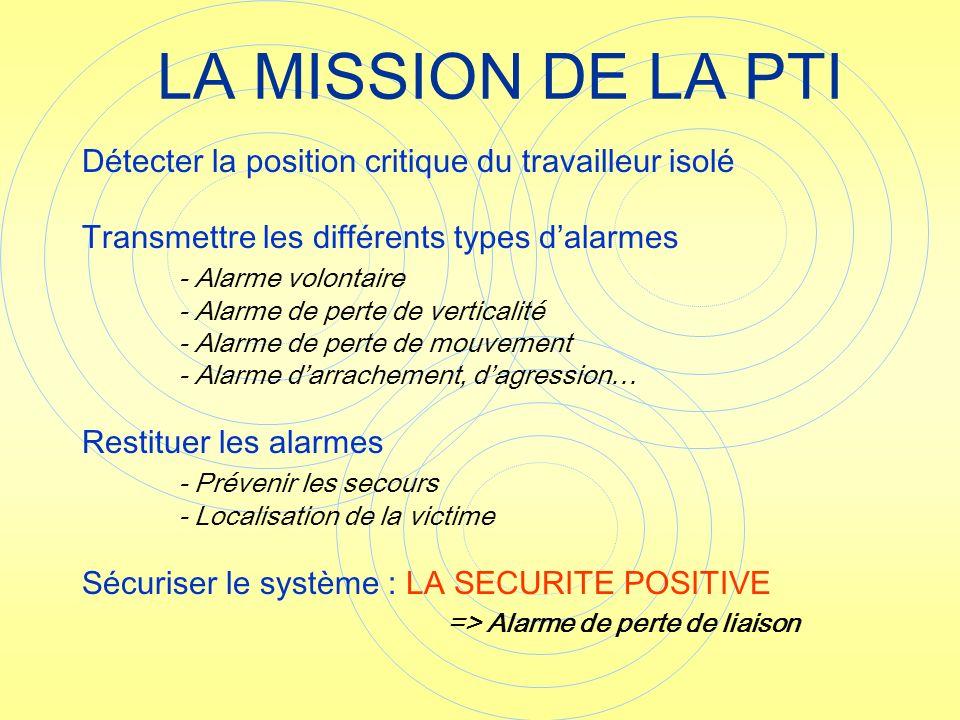 LA MISSION DE LA PTI Détecter la position critique du travailleur isolé. Transmettre les différents types d'alarmes.