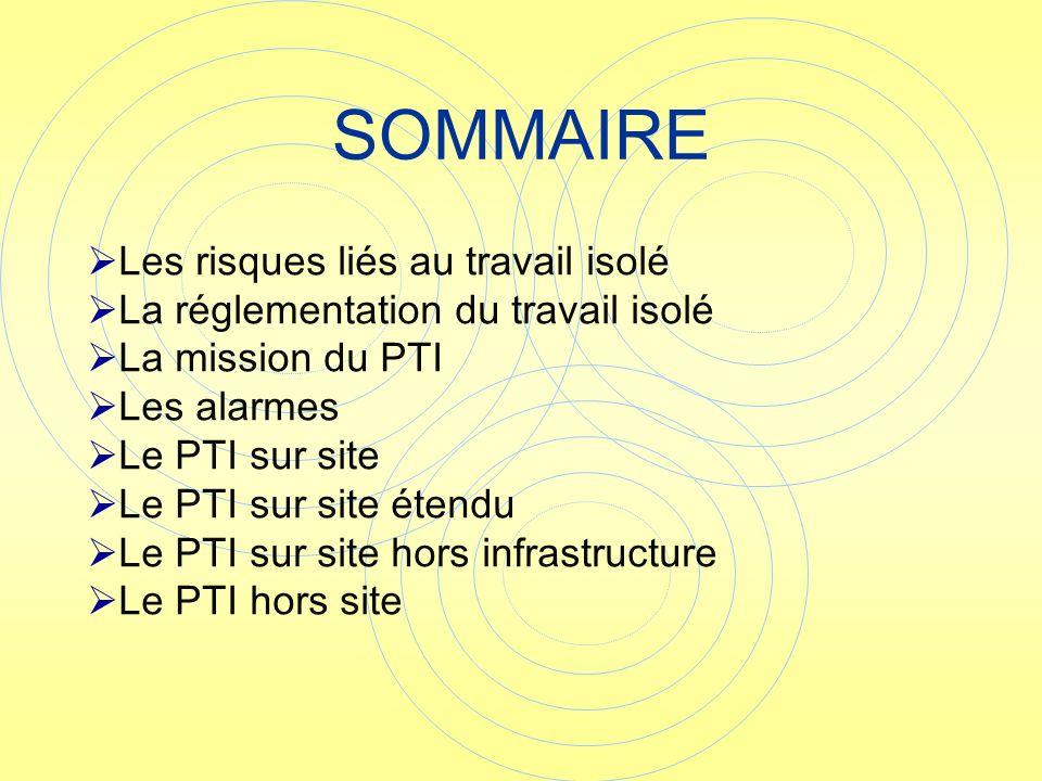 SOMMAIRE Les risques liés au travail isolé