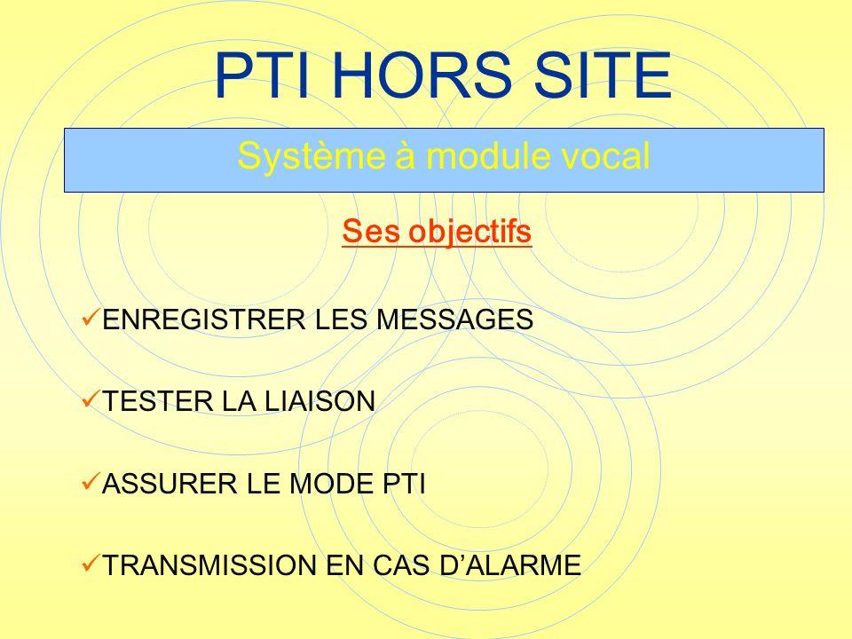 PTI HORS SITE Système à module vocal Ses objectifs
