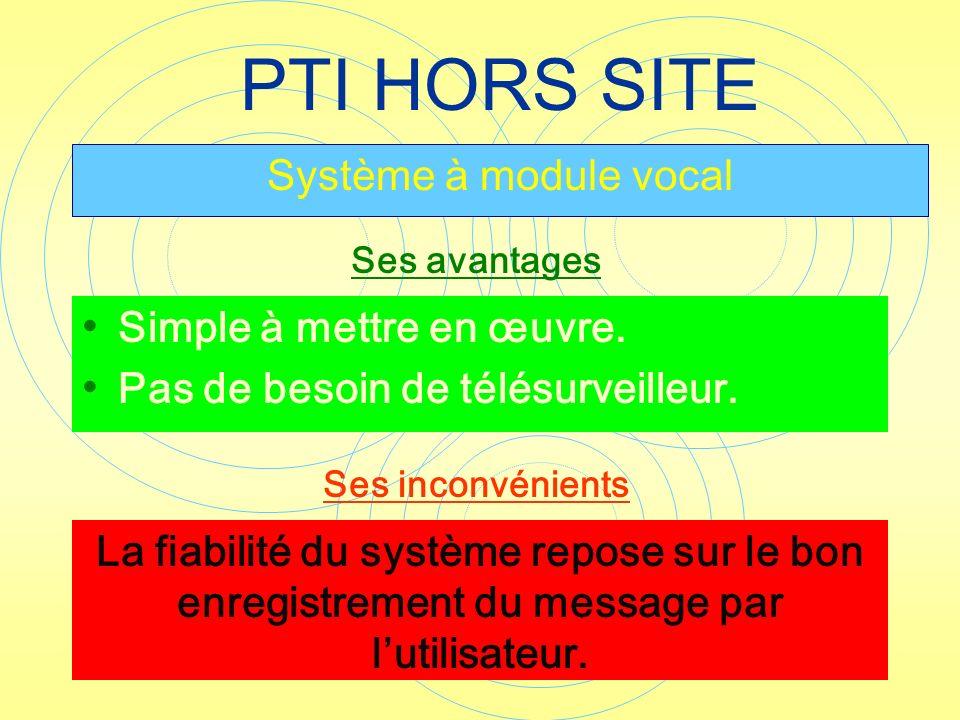 PTI HORS SITE Système à module vocal Simple à mettre en œuvre.