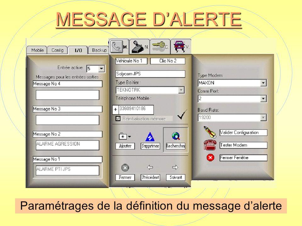 Paramétrages de la définition du message d'alerte
