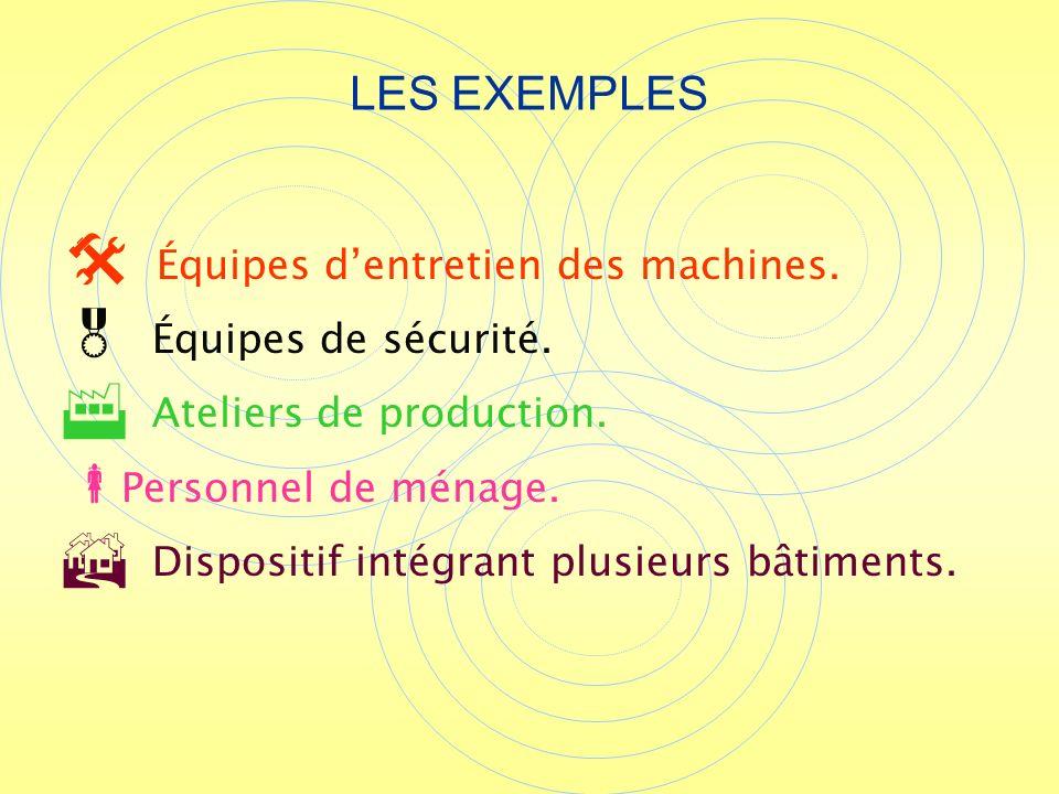 LES EXEMPLES Équipes d'entretien des machines. Équipes de sécurité.