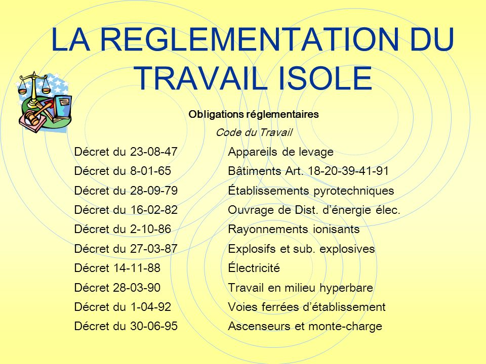 LA REGLEMENTATION DU TRAVAIL ISOLE