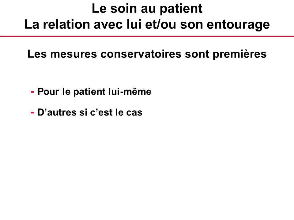 Le soin au patient La relation avec lui et/ou son entourage