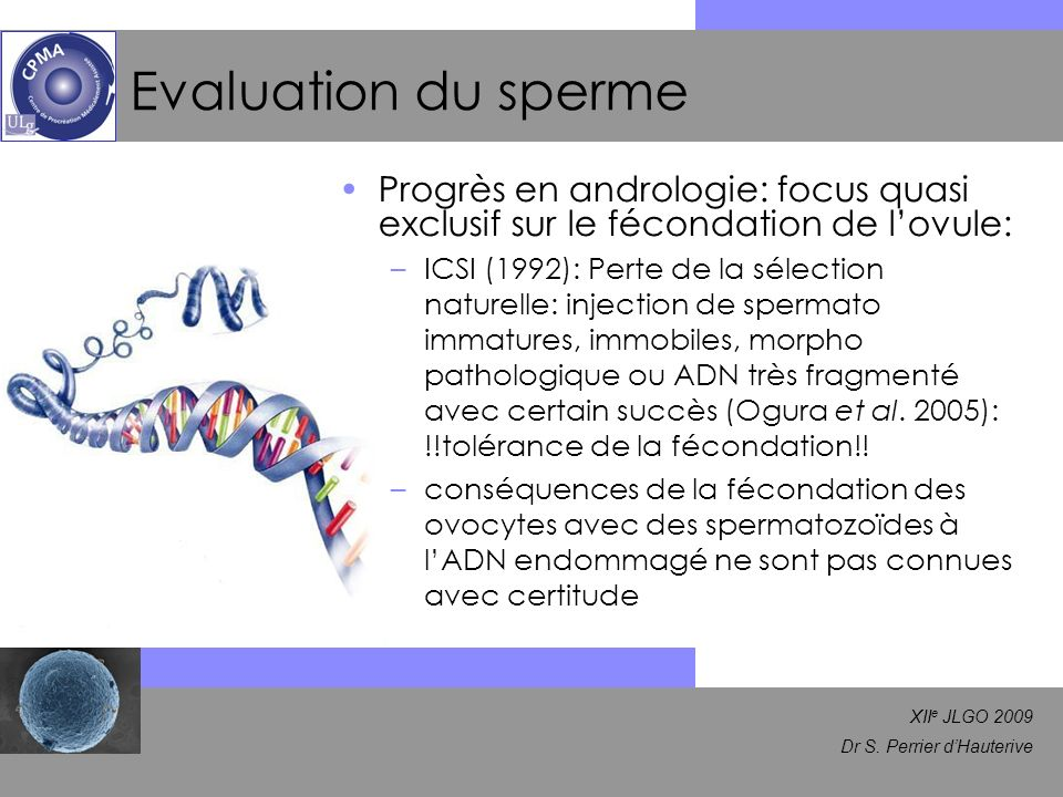Evaluation du sperme Progrès en andrologie: focus quasi exclusif sur le fécondation de l'ovule: