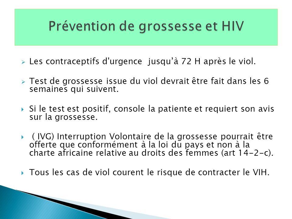 Prévention de grossesse et HIV