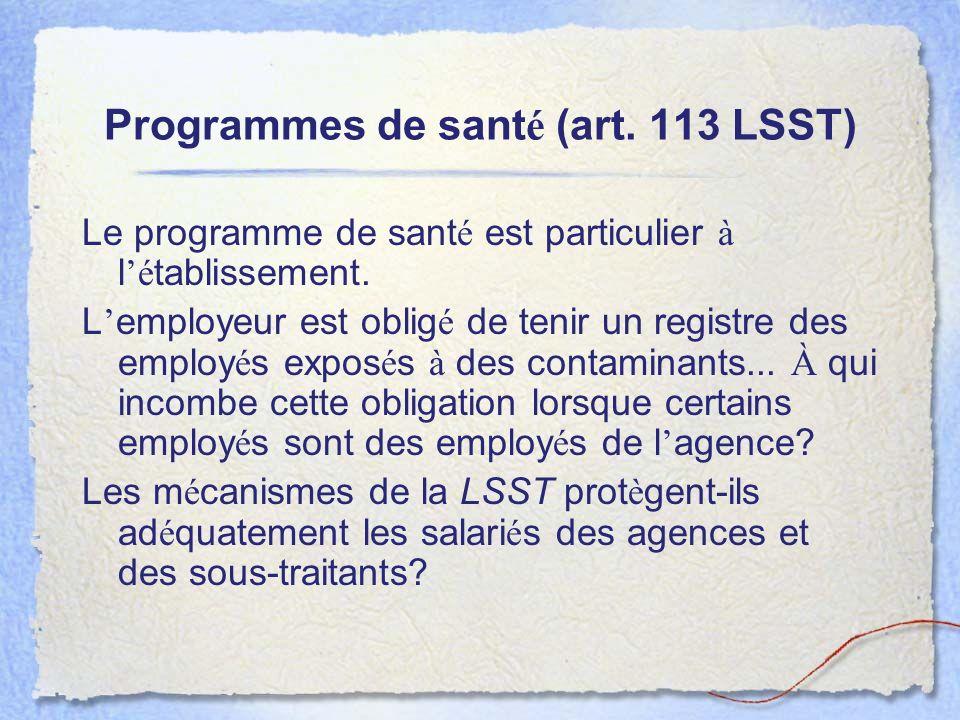 Programmes de santé (art. 113 LSST)
