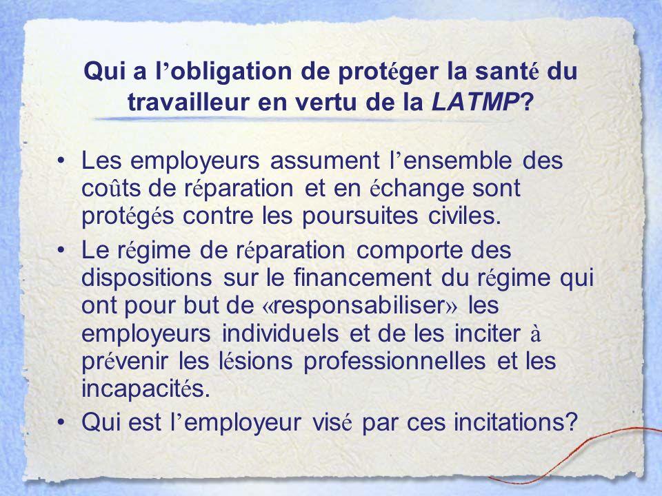 Qui a l'obligation de protéger la santé du travailleur en vertu de la LATMP