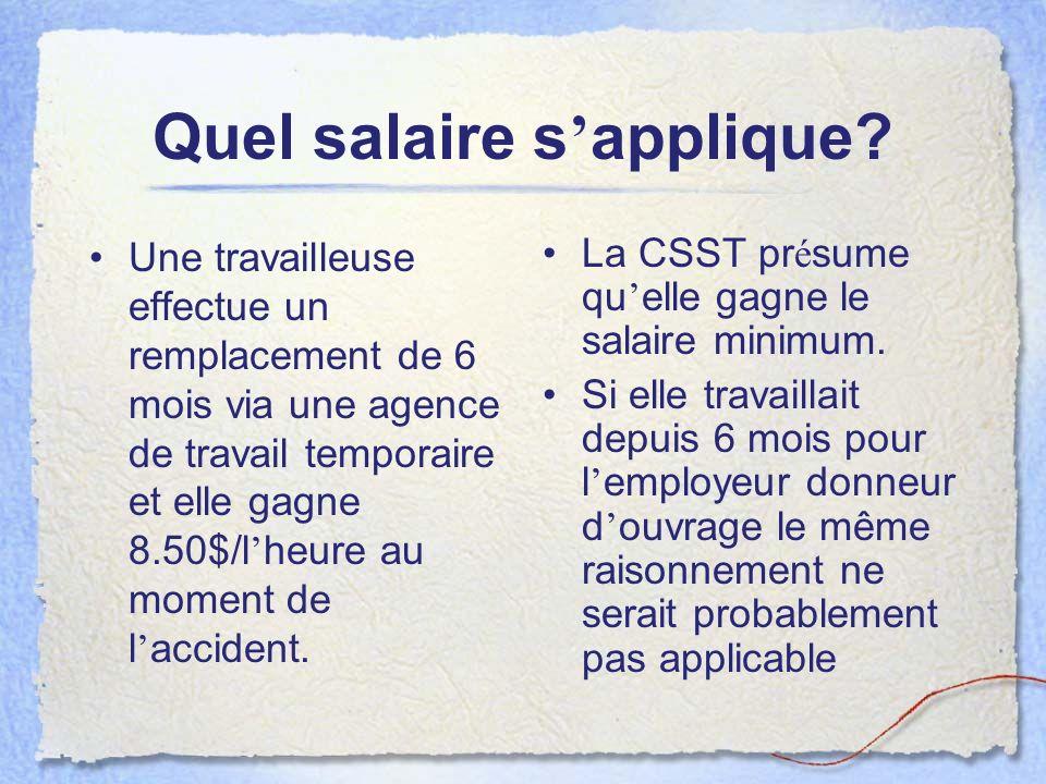 Quel salaire s'applique