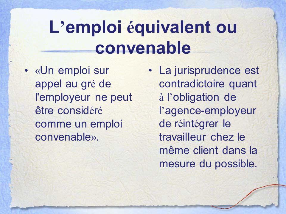 L'emploi équivalent ou convenable