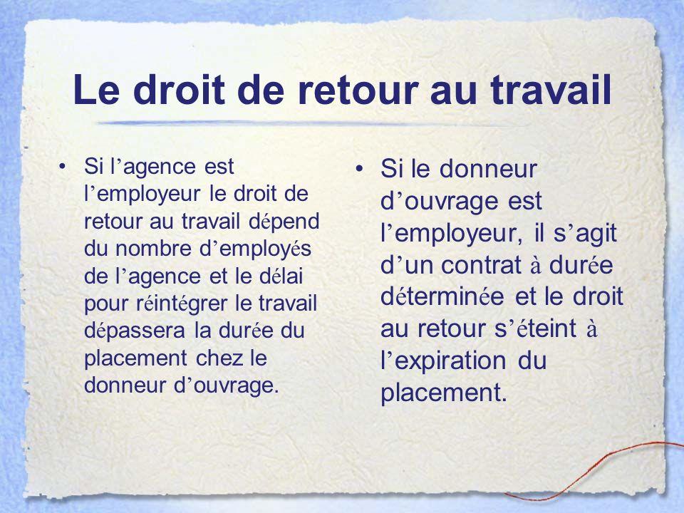 Le droit de retour au travail
