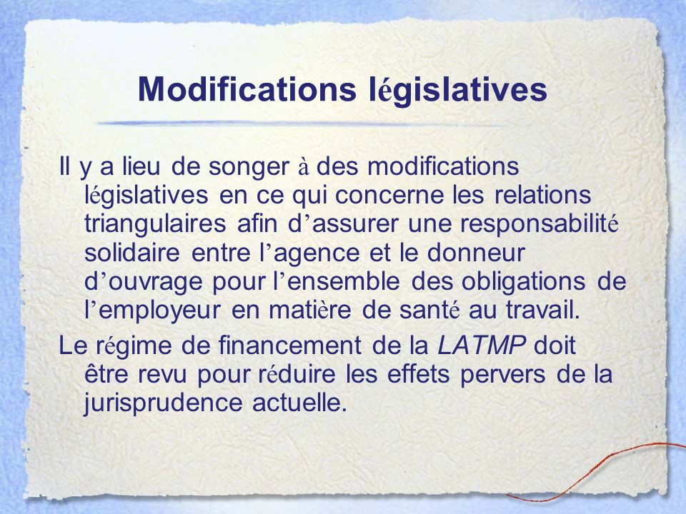 Modifications législatives