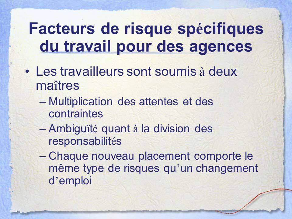 Facteurs de risque spécifiques du travail pour des agences