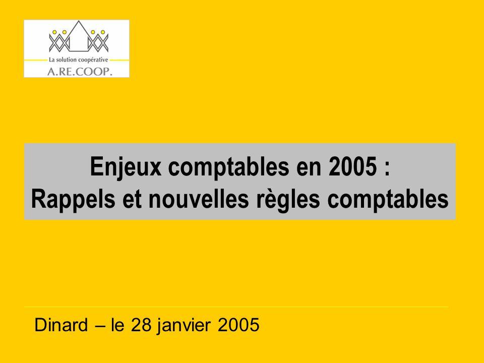 Enjeux comptables en 2005 : Rappels et nouvelles règles comptables