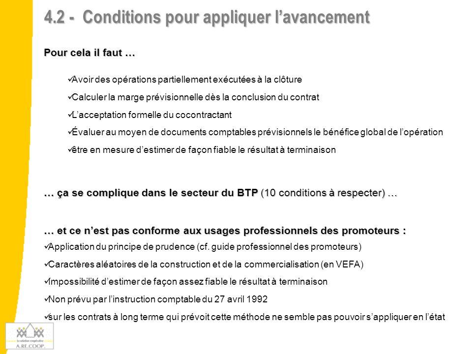 4.2 - Conditions pour appliquer l'avancement