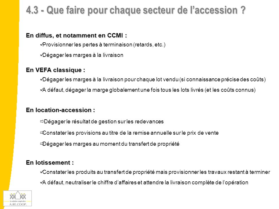 4.3 - Que faire pour chaque secteur de l'accession