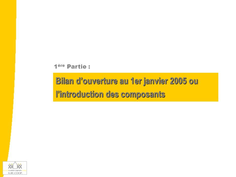 Bilan d'ouverture au 1er janvier 2005 ou l'introduction des composants