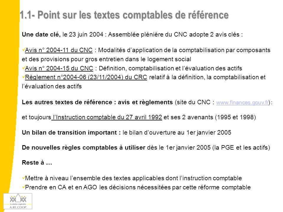 1.1- Point sur les textes comptables de référence
