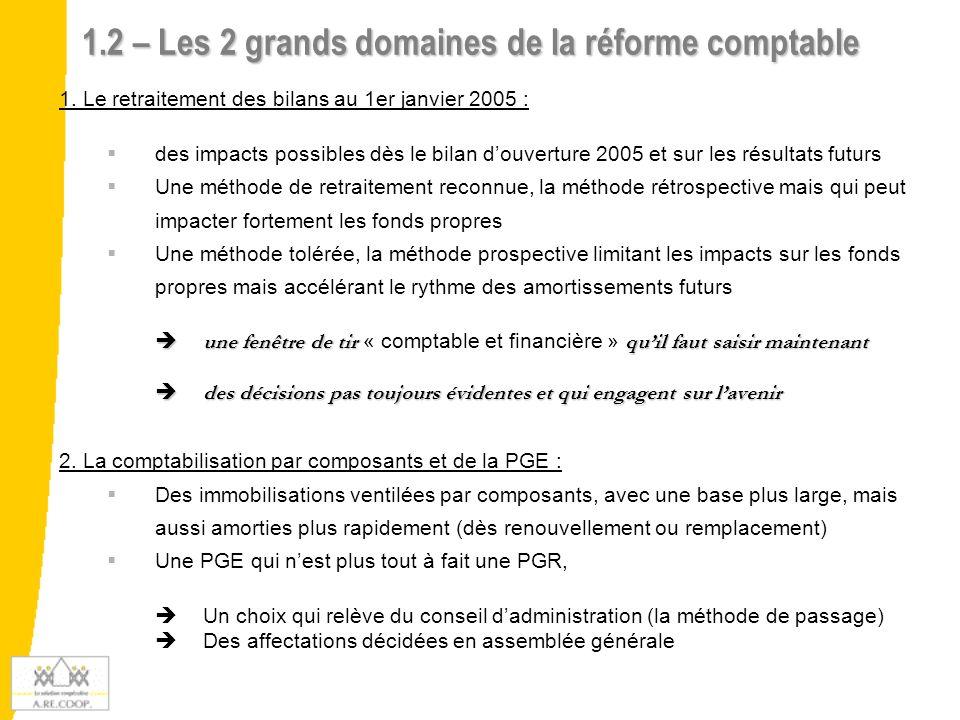 1.2 – Les 2 grands domaines de la réforme comptable