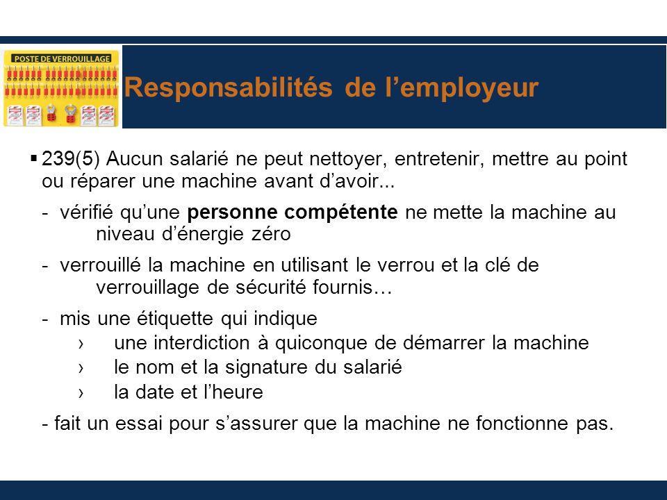 Responsabilités de l'employeur