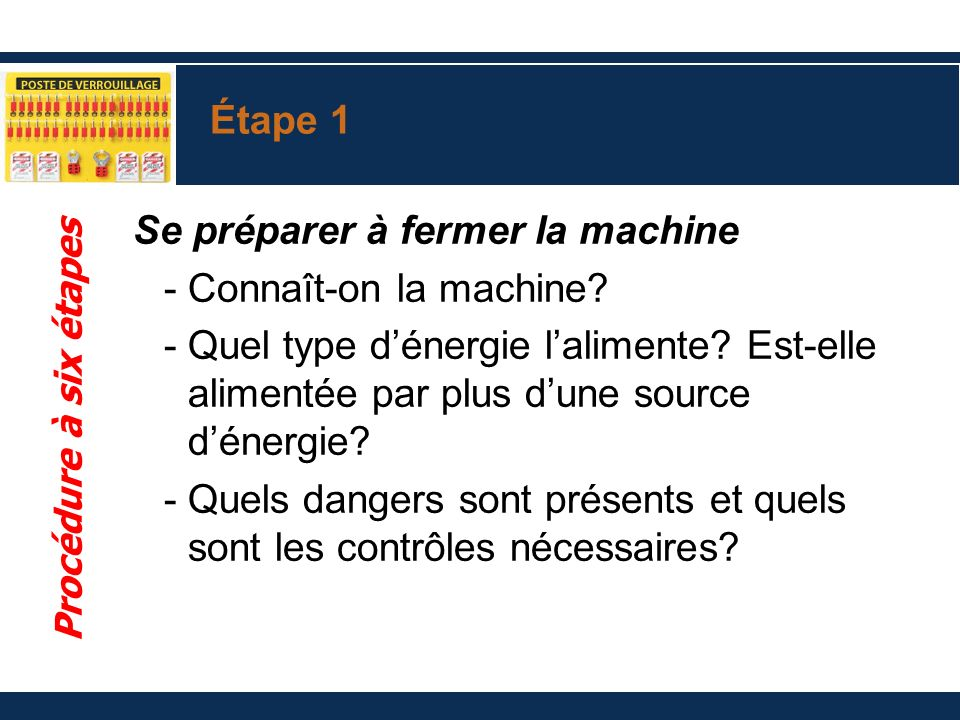 Se préparer à fermer la machine Connaît-on la machine