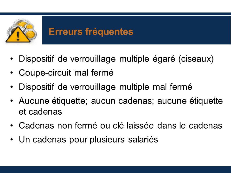 Erreurs fréquentes Dispositif de verrouillage multiple égaré (ciseaux)