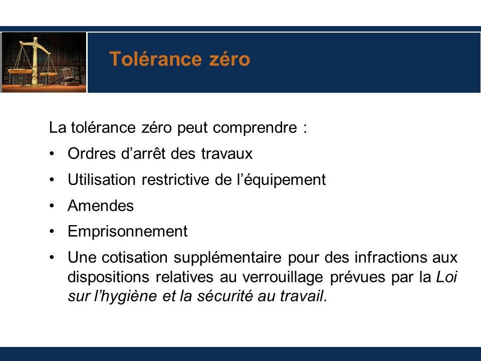 Tolérance zéro La tolérance zéro peut comprendre :