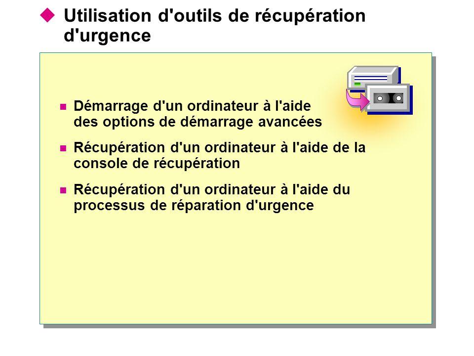 Utilisation d outils de récupération d urgence