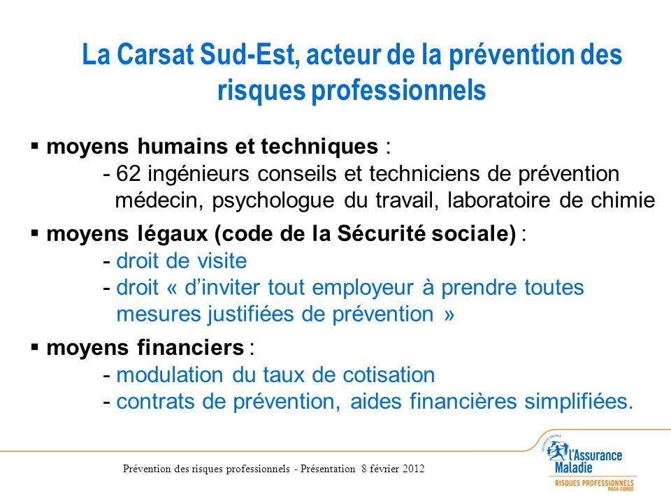 La Carsat Sud-Est, acteur de la prévention des risques professionnels