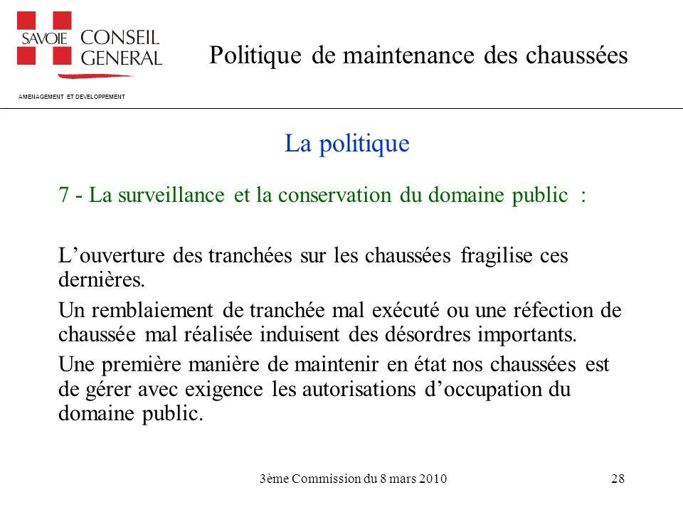 La politique 7 - La surveillance et la conservation du domaine public : L'ouverture des tranchées sur les chaussées fragilise ces dernières.