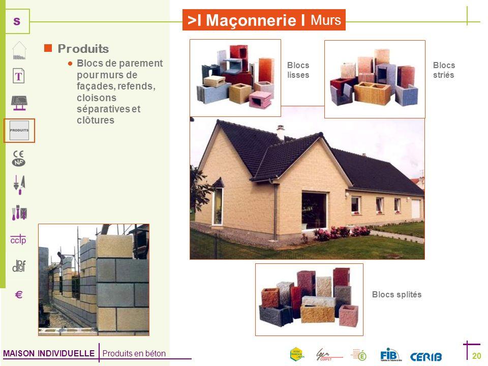 Produits Blocs de parement pour murs de façades, refends, cloisons séparatives et clôtures. Blocs lisses.