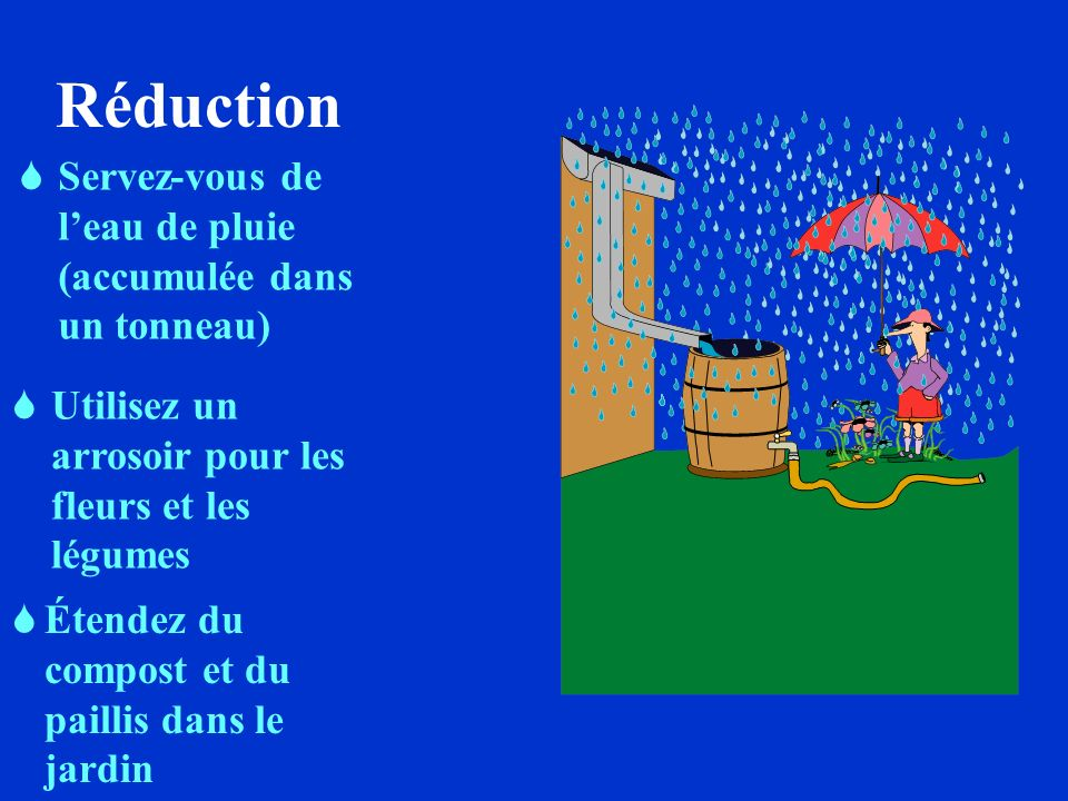 Réduction Servez-vous de l'eau de pluie (accumulée dans un tonneau)
