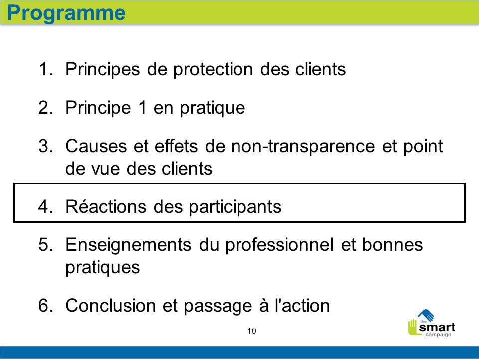 Programme Principes de protection des clients Principe 1 en pratique