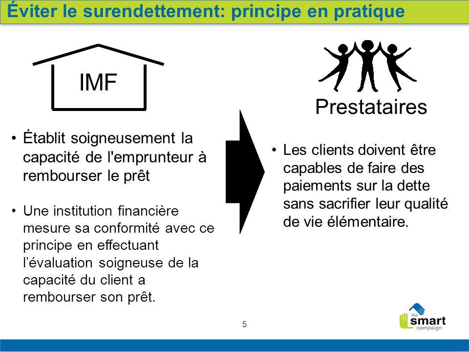 IMF Prestataires Éviter le surendettement: principe en pratique