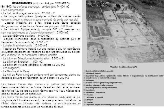 Installations (voir Les AIA, par COMAERO)