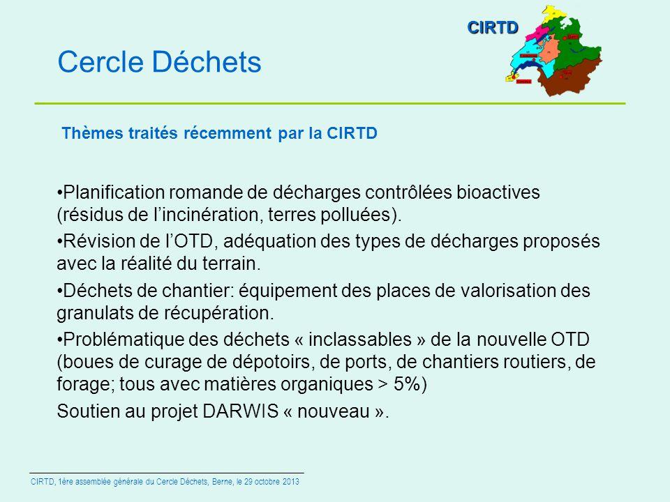 CIRTD Cercle Déchets. Thèmes traités récemment par la CIRTD.