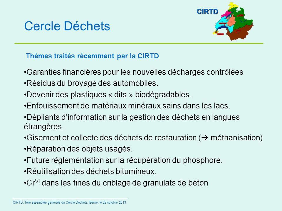 CIRTD Cercle Déchets. Thèmes traités récemment par la CIRTD. Garanties financières pour les nouvelles décharges contrôlées.