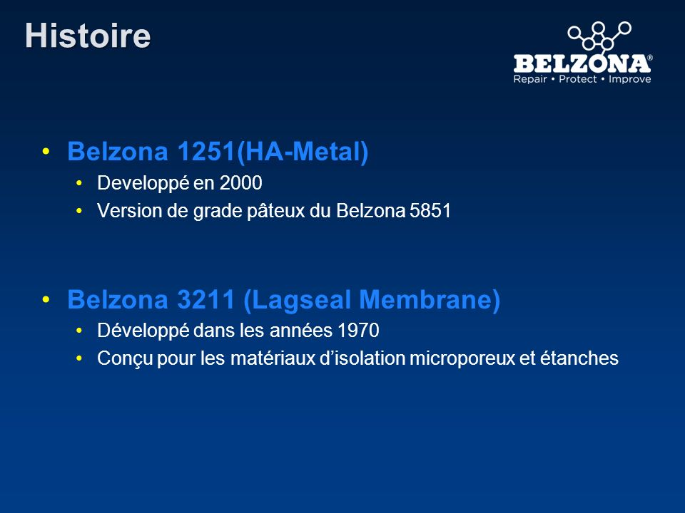Histoire Belzona 1251(HA-Metal) Belzona 3211 (Lagseal Membrane)