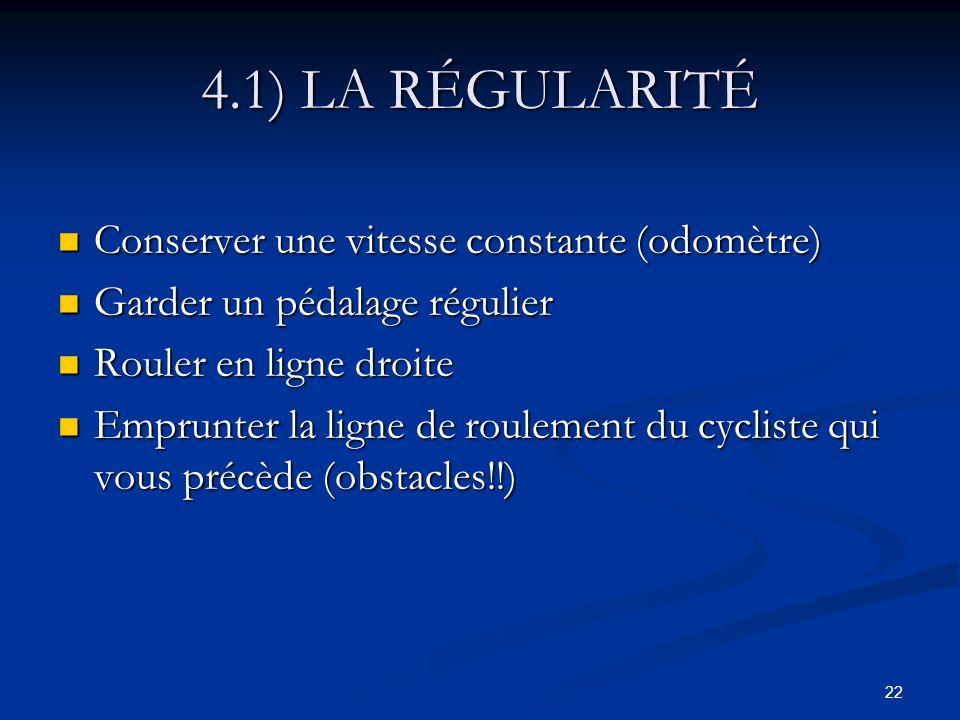 4.1) LA RÉGULARITÉ Conserver une vitesse constante (odomètre)
